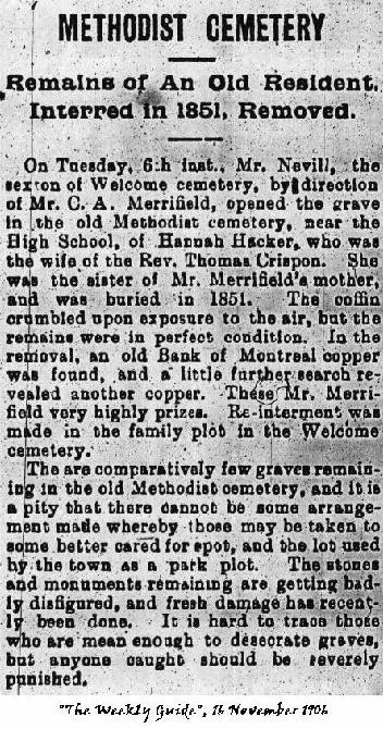 Newspaper clipping of a re-interment