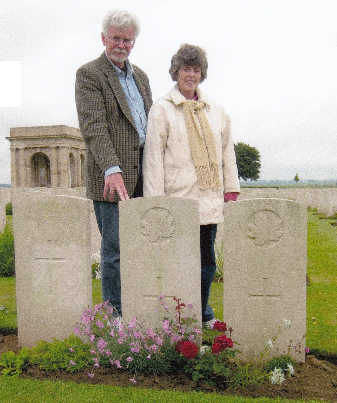 Peter and Barbara at the grave of  William George Lightle, France